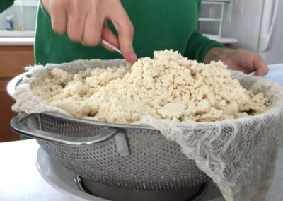 Press tofu down to make a flat surface