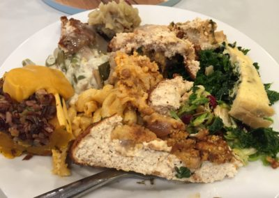 A messy Thanksgiving plate!